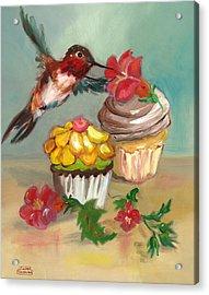 hummingbird with 2 Cupcakes Acrylic Print