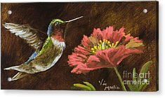 Hummingbird With Gold Leaf By Vic Mastis Acrylic Print