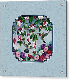 Hummingbirds And Flowers Cyan Pillow And Duvet Cover Acrylic Print by Crista Forest