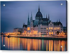 Hungarian Parliament Dawn Acrylic Print by Joan Carroll