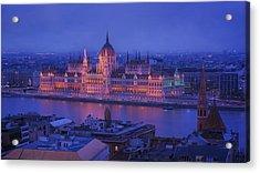 Hungarian Parliament First Evening Light Acrylic Print