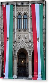 Hungary Flag Hanging At Parliament Budapest Acrylic Print by Imran Ahmed