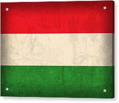 Hungary Flag Vintage Distressed Finish Acrylic Print by Design Turnpike
