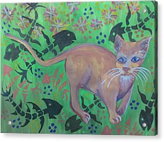 Hungry Cat Acrylic Print by Cherie Sexsmith