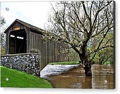 Hunsecker's Mill Covered Bridge Acrylic Print by DJ Florek
