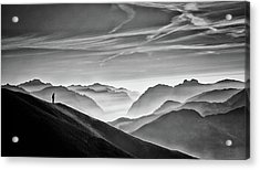 Hunter In The Fog Bw Acrylic Print