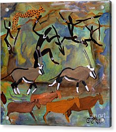 Hunters And Gemsbok Rock Art Acrylic Print by Caroline Street