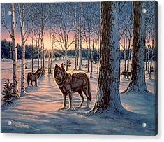 Hunters At Twilight Acrylic Print by Richard De Wolfe