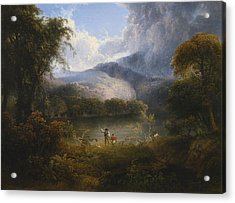 Hunters With A Dog In A Landscape Acrylic Print