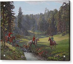 Hunting With Hounds Acrylic Print by Korobkin Anatoly
