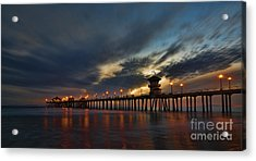 Huntington Beach At Night Acrylic Print by Peter Dang