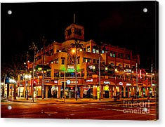 Huntington Beach Downtown Nightside 1 Acrylic Print by Jim Carrell