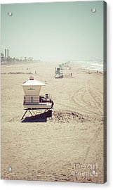 Huntington Beach Lifeguard Tower #1 Vintage Picture Acrylic Print by Paul Velgos