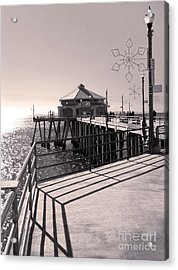 Huntington Beach Pier - Rubys Diner Acrylic Print by Gregory Dyer