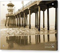 Huntington Beach Pier - Vintage Acrylic Print