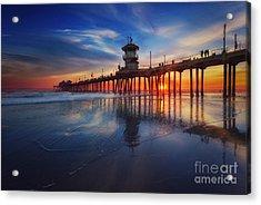 Huntington Beach Pier At Sunset Acrylic Print