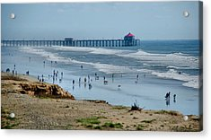 Acrylic Print featuring the photograph Huntington Beach Pier by Joseph Hollingsworth