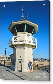 Huntington Beach Pier Lifeguard Tower Acrylic Print by Gregory Dyer
