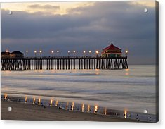 Huntington Beach Pier Morning Lights Acrylic Print