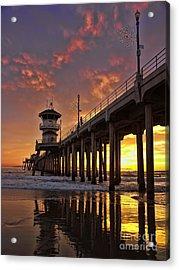Huntington Beach Pier Acrylic Print by Peggy Hughes