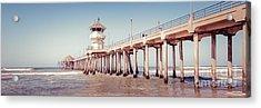 Huntington Beach Pier Retro Panorama Picture Acrylic Print by Paul Velgos