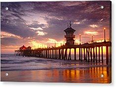 Huntington Beach Pier Sunset Acrylic Print by Dung Ma