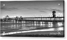 Acrylic Print featuring the photograph Huntington Beach Pier Twilight - Black And White by Jim Carrell