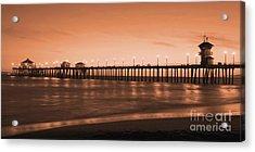 Huntington Beach Pier - Twilight Sepia Acrylic Print by Jim Carrell