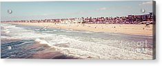 Huntington Beach Retro Panorama Photo Acrylic Print by Paul Velgos