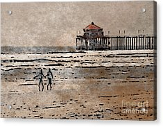 Huntington Beach Surfers Acrylic Print by Andrea Auletta