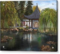 Acrylic Print featuring the painting Huntington Chinese Gardens by LaVonne Hand