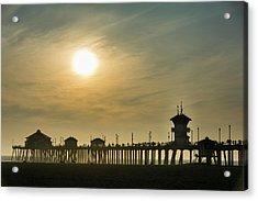 Huntington Pier And Sun Acrylic Print by Roberto Lopez