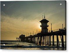 Huntington Pier And Sunset Acrylic Print by Vwpics - Roberto Lopez