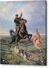Huntsman With The Borzois Acrylic Print by Rudolph Frenz