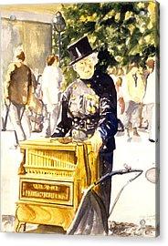 Hurdy Gurdy Frau Acrylic Print by Leisa Shannon Corbett