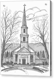 Acrylic Print featuring the drawing Hurley Reformed Church by Richard Wambach
