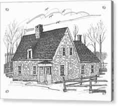 Acrylic Print featuring the drawing Hurley Stone House by Richard Wambach