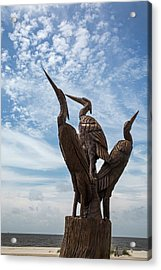 Hurricane Katrina Wood Carving Acrylic Print by Jim West