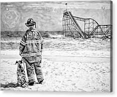 Hurricane Sandy Black And White Acrylic Print by Jessica Cirz