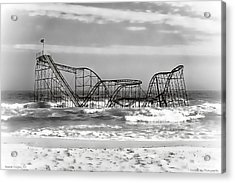 Hurricane Sandy Jetstar Roller Coaster Black And White Acrylic Print by Jessica Cirz
