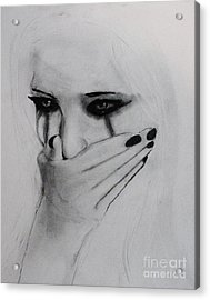Acrylic Print featuring the drawing Hurt by Michael Cross