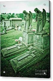 Husband And Wife Angel Gravestones Acrylic Print