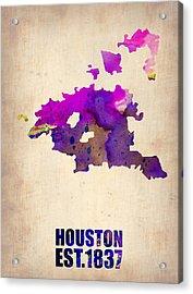 Huston Watercolor Map Acrylic Print by Naxart Studio