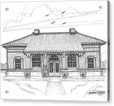 Acrylic Print featuring the drawing Hyde Park Historic Train Station by Richard Wambach