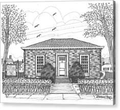 Acrylic Print featuring the drawing Hyde Park Public Library by Richard Wambach
