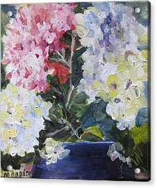 Acrylic Print featuring the painting Hydrangea Blue by MaryAnne Ardito