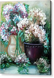 Acrylic Print featuring the painting Hydrangea Melody by Patrice Torrillo