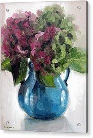 Hydrangeas In Blue Vase Acrylic Print
