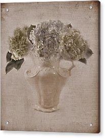 Acrylic Print featuring the photograph Hydrangeas In Cream Pitcher by Sandra Foster