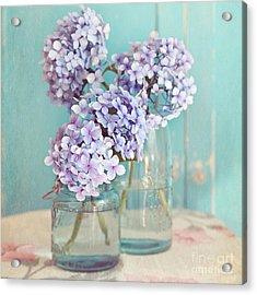 Hydrangeas In Mason Jars Acrylic Print